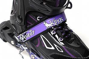 Раздвижные роликовые коньки Power Kings - Фиолетовые 29-33 р., фото 3