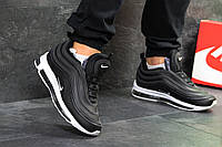 Кроссовки мужские Nike 97 на зиму стильные низкие пресс кожа+пена+меху (черные), ТОП-реплика, фото 1