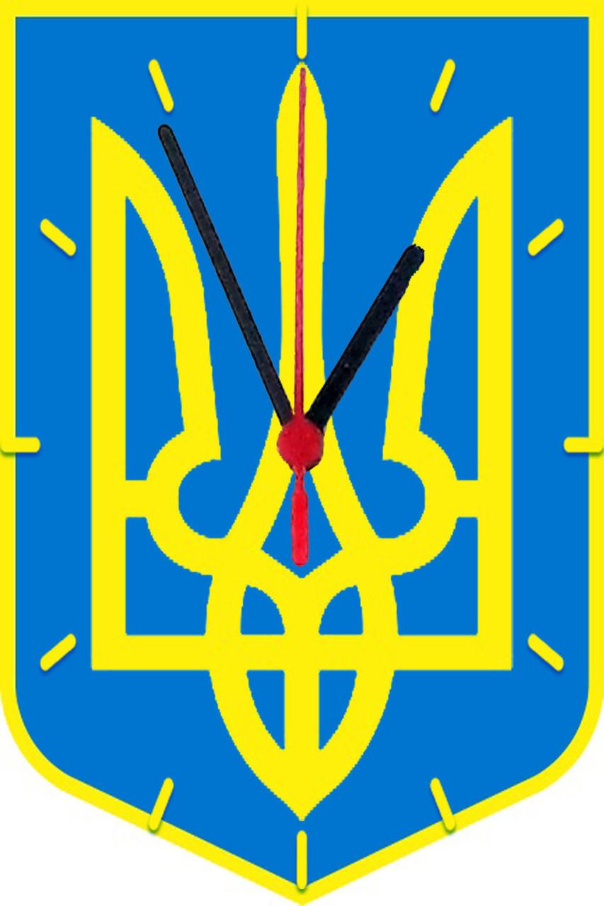 """настенные часы МДФ фигурные """"Тризуб"""""""