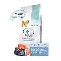 Optimeal (Оптимил) сухой гипоаллергенный корм для собак средних породс лососем 12КГ