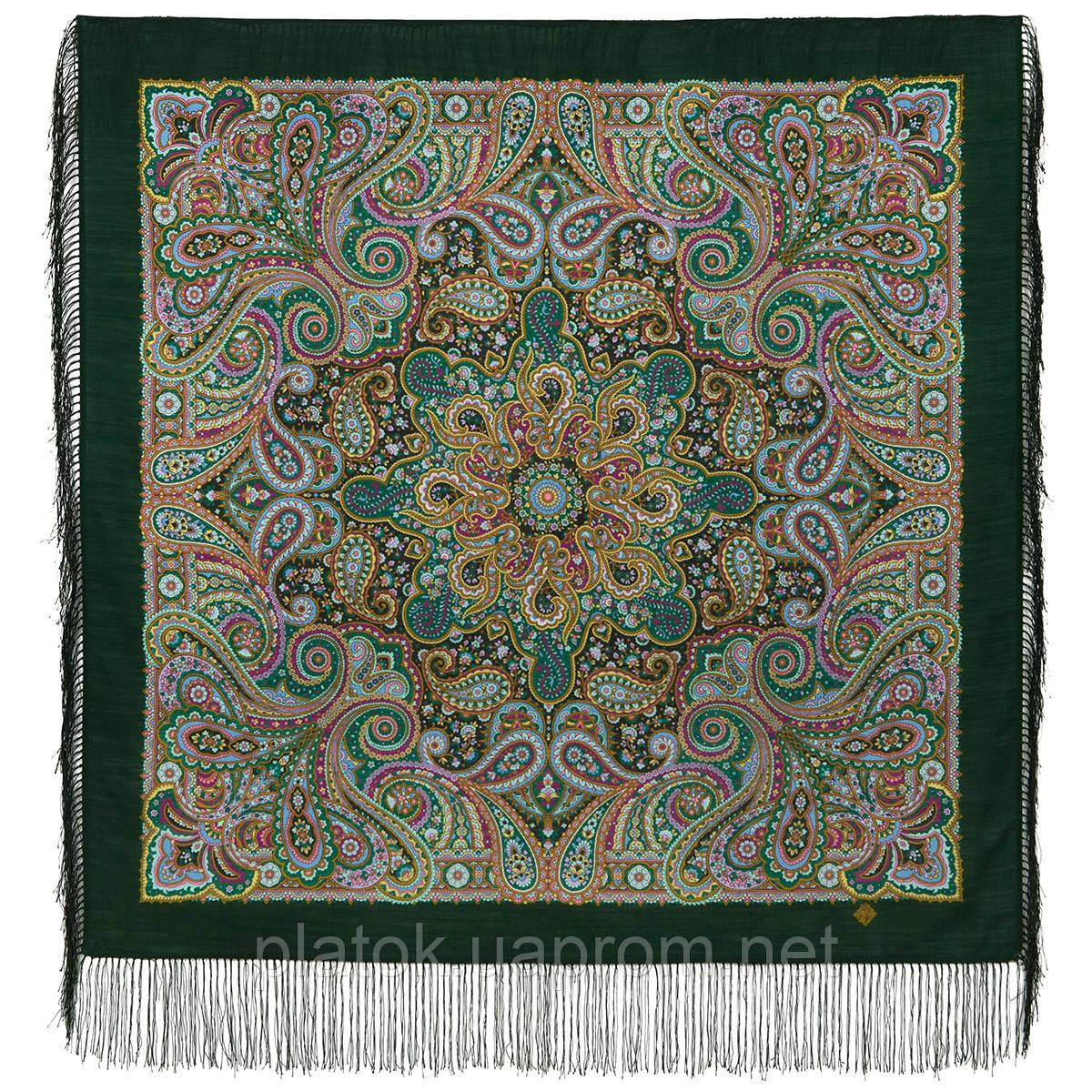 Горожанка 1836-9, павлопосадский платок шерстяной  с шелковой бахромой