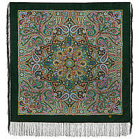 Горожанка 1836-9, павлопосадский платок шерстяной  с шелковой бахромой, фото 1
