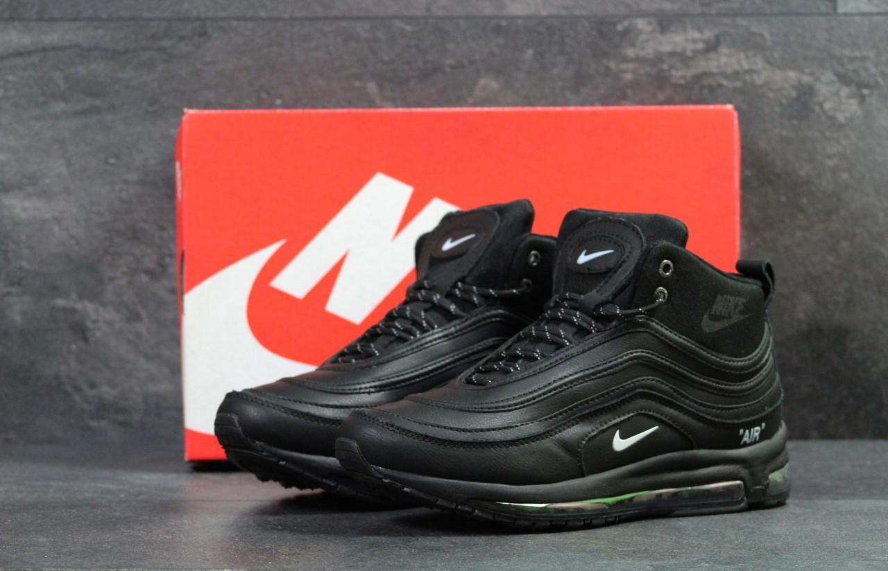 Мужские зимние кроссовки  Nike 97  теплые высокие качественные найки в черном цвете, ТОП-реплика