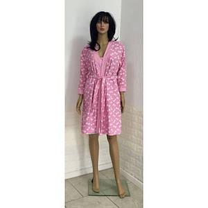 Женский комплект халат с сорочкой на тонких бретелях с принтом бантики 44-52 р
