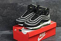 Мужские кроссовки  Nike 97 на зиму высокие качественные найки на меху в черные с салатовым, ТОП-реплика, фото 1