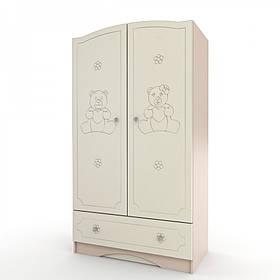 Шкаф платяной с 1 ящиком «Мишка» МДФ Венге светлый/Ваниль глянец (ТМ Вальтер)