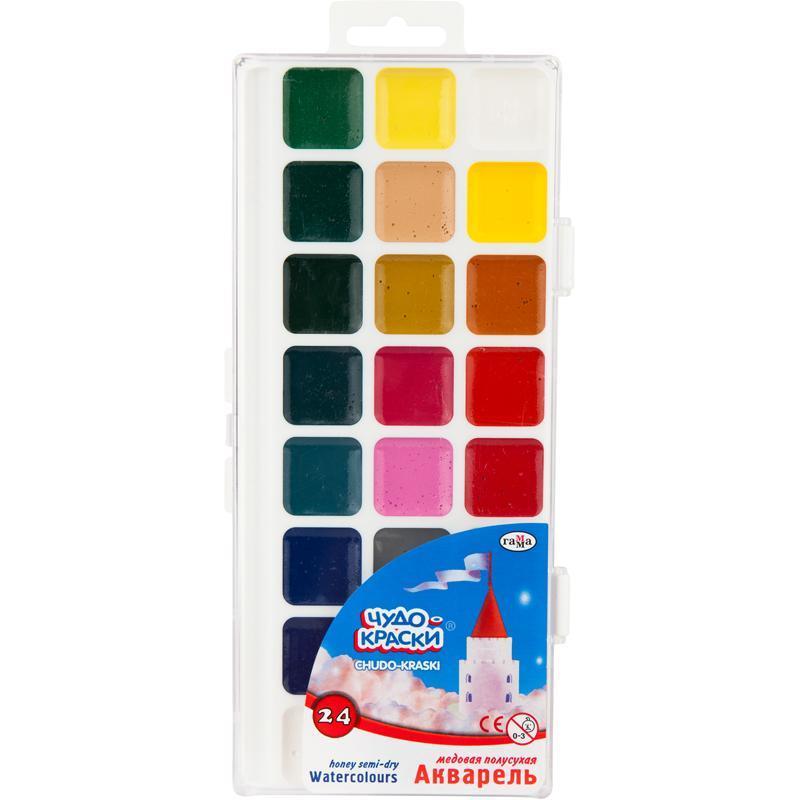 """Краски акварельные """"Чудо-Краски"""",Гамма,24 цветов,пластиковая упаковка, 211077"""