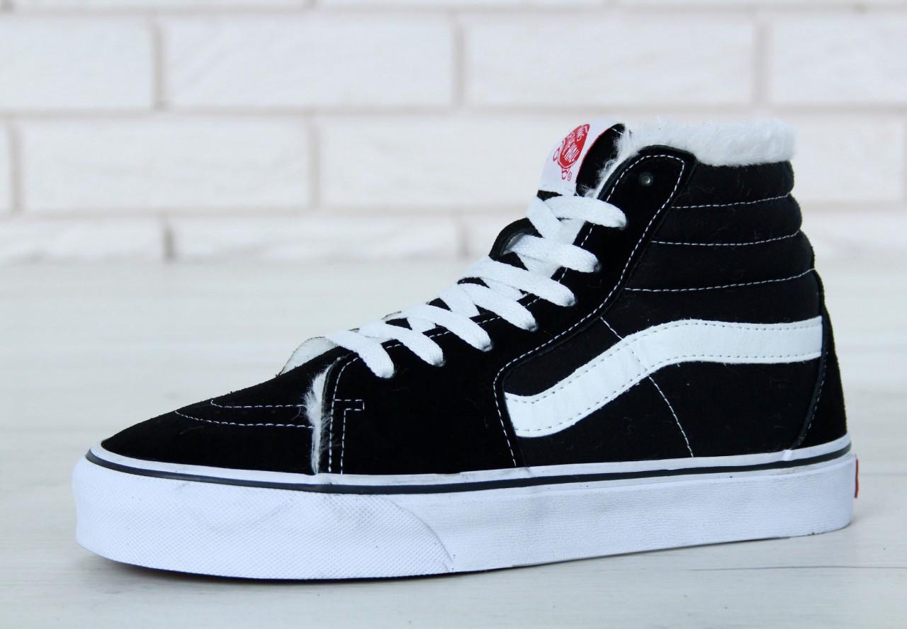 Мужские зимние кеды Vans (в стиле Ванс) черные с белым - Мультибрендовый  магазин обуви da5592d839d