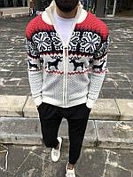 Теплый мужской свитер с оленями