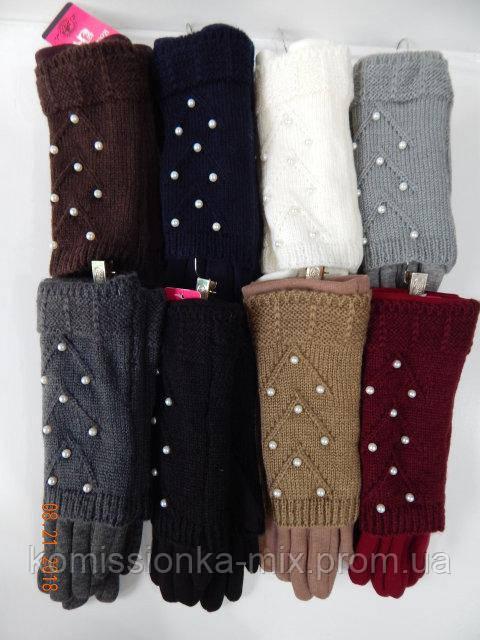 Сенсорные женские перчатки вязка (митенки)