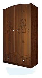 Шкаф платяной с 1 ящиком «Мишка» МДФ Орех темный/Орех итальянский (ТМ Вальтер)