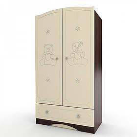 Шкаф платяной с 1 ящиком «Мишка» МДФ Орех темный/Ваниль глянец (ТМ Вальтер)