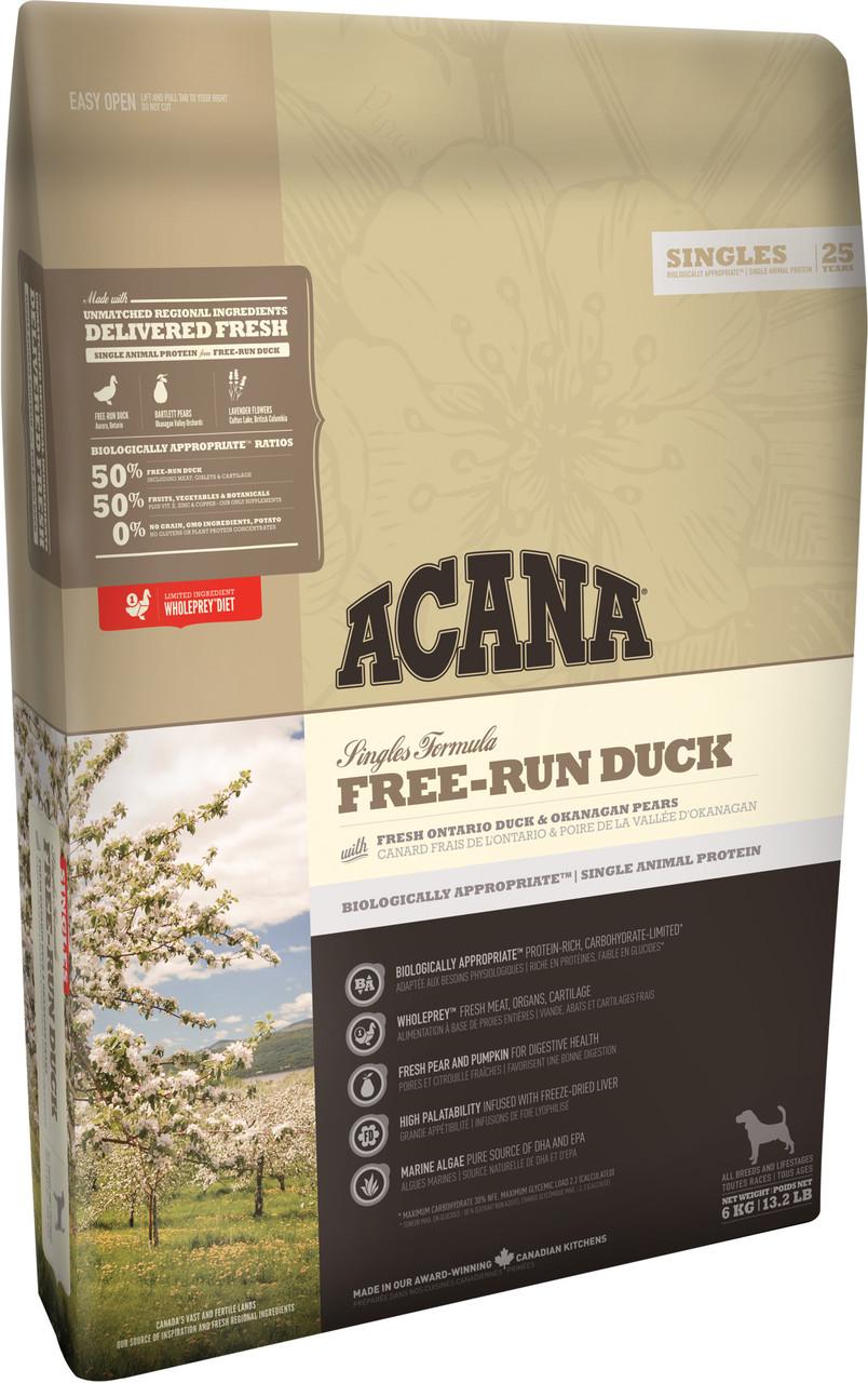 Acana Free-Run Duck( Акана Фри-Рун Дук) - корм для щенков и взрослых собак  2 кг