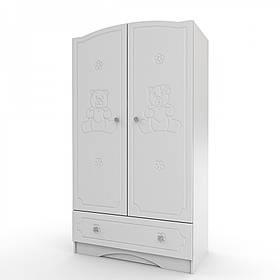 Шкаф платяной с 1 ящиком «Мишка» МДФ Белый/Белый глянец (ТМ Вальтер)