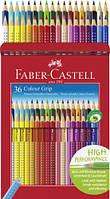 Набор акварельных карандашей Faber Castell 36 цветов  GRIP ТРЕХГРАННЫЕ КАРТОННАЯ КОРОБКА