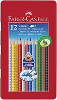 Набор акварельных карандашей Faber Castell 12 цветов GRIP ТРЕХГРАННЫЕ МЕТАЛ.КОРОБКА