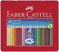 Набор акварельных карандашей Faber Castell 24 цвета GRIP ТРЕХГРАННЫЕ МЕТАЛ.КОРОБКЕ