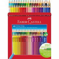Набор акварельных карандашей Faber Castell 48 цветов GRIP ТРЕХГРАННЫЕ В МЕТАЛЛ.КОРОБКЕ