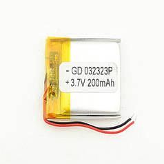 Универсальный аккумулятор Li-pol 200mAh 3.7V 25 х 25 х 3 мм (hub_np2_0361)