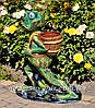 Садовая фигура подставка для цветов Лягушка с тачкой, Лягушка с ведрами и Лягушка с корзиной, фото 6