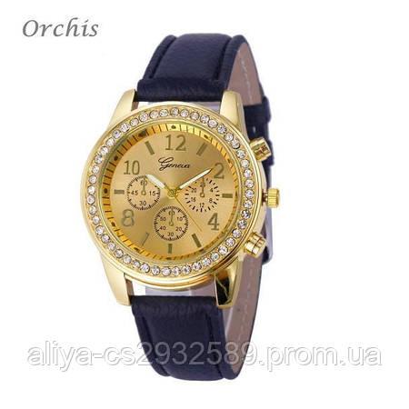 Часы Женева с золотистым циферблатом