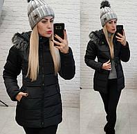 """Зимняя женская куртка с мехом """"Аляска"""" черная"""