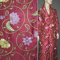 Шовк вишневий з вишитими квітами ш.160 (19954.002)