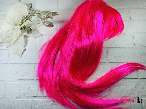 Новорічний яскраво-рожевий перуку 58 см, 120 гр на тематичні карнавальні вечірки, фото 2