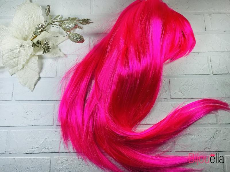 Новорічний яскраво-рожевий перуку 58 см, 120 гр на тематичні карнавальні вечірки
