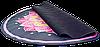 Коврик для фитнеса и йоги круглый с сумкой Record замша двухслойный 3мм черно-розовый