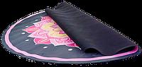 Коврик для фитнеса и йоги круглый с сумкой Record замша двухслойный 3мм черно-розовый, фото 1