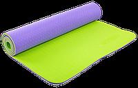 Коврик для фитнеса и йоги Zelart TPE двухслойный 6 мм сиренево-салатовый