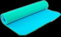 Коврик для фитнеса и йоги Zelart TPE двухслойный 6 мм мятно-голубой