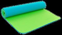 Коврик для фитнеса и йоги Zelart TPE двухслойный 6 мм бирюзово-салатовый