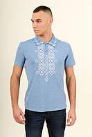 Стильная футболка-вышиванка голубого цвета