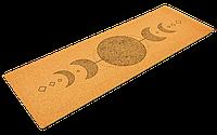 """Коврик для йоги пробковый каучуковый Record двухслойный 4мм """"Лунный Цикл"""", фото 1"""