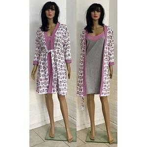 Комплект для сна и отдыха халат с сорочкой с принтом совы 44-52 р
