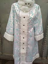 Костюм Снегурочки белый с мехом карнавальный на утренники платье и шапочка