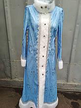 Снігуронька маскарадний костюм блакитний велюр з хутром карнавальний на ранки плаття і шапочка