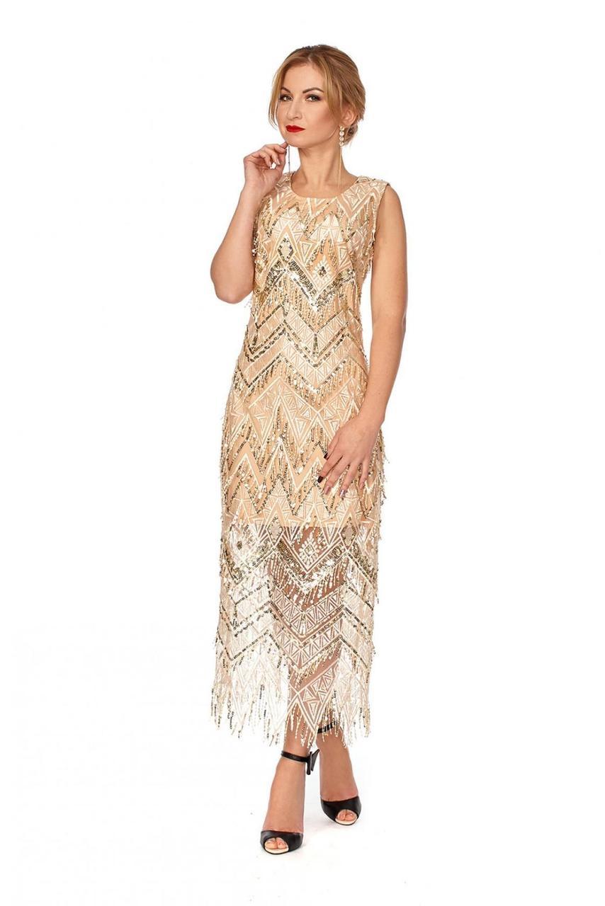 Вечернее платье длиной миди в бежевом цвете - Оптово - розничный магазин  одежды