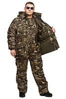 """Зимний охотничий костюм Камуфляж """"Военный М-23"""" мембрана утепленная + флис, удлиненная куртка"""