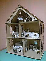 Дерев'яний ляльковий будинок з трьома поверхами,арт.TNR10039 2101002455664