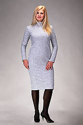 Теплое платье-гольф под горло большие размеры ангора с начесом светло-серый