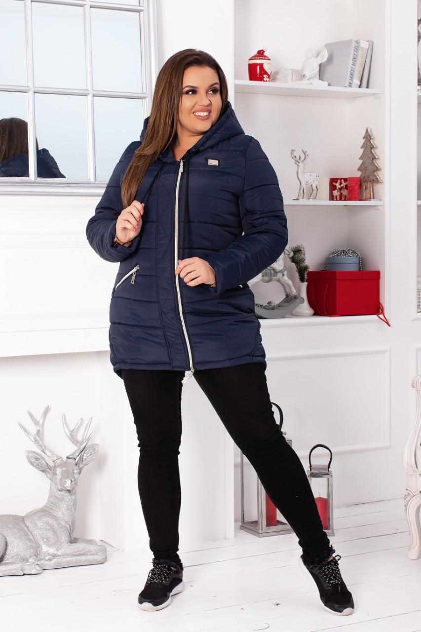 Куртка парка Зима 2019, модель 204 батал, цвет - темно синий