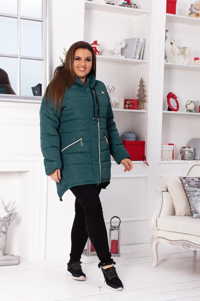 Куртка парка Зима 2019, модель 204 батал, цвет - аквамарин