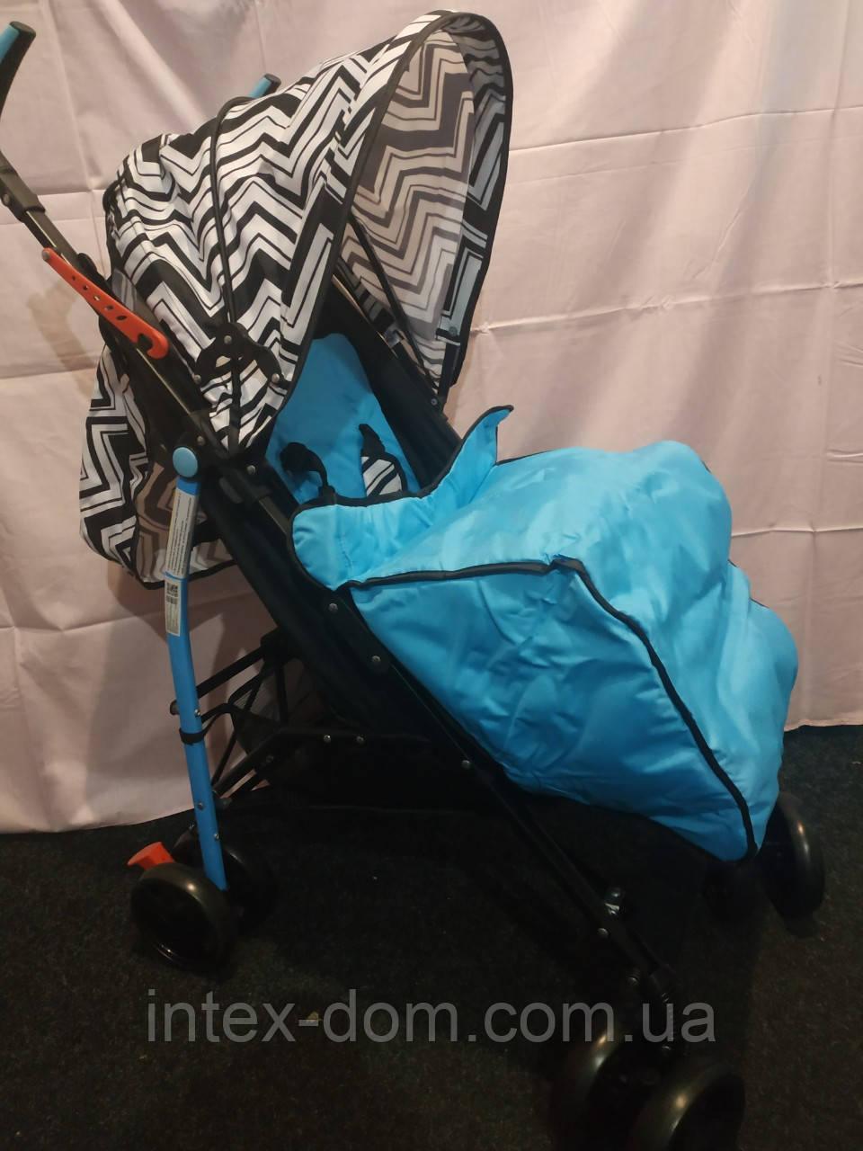 Детская коляска-трость BAMBI M 2719B (Голубая) с корзинкой
