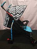 Детская коляска-трость BAMBI M 2719B (Голубая) с корзинкой, фото 4