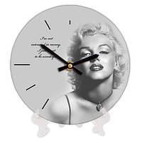 Часы настольные круглые Мэрилин Монро 18 см черно-белые (CH18_P_15S167)