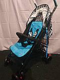 Детская коляска-трость BAMBI M 2719B (Голубая) с корзинкой, фото 3