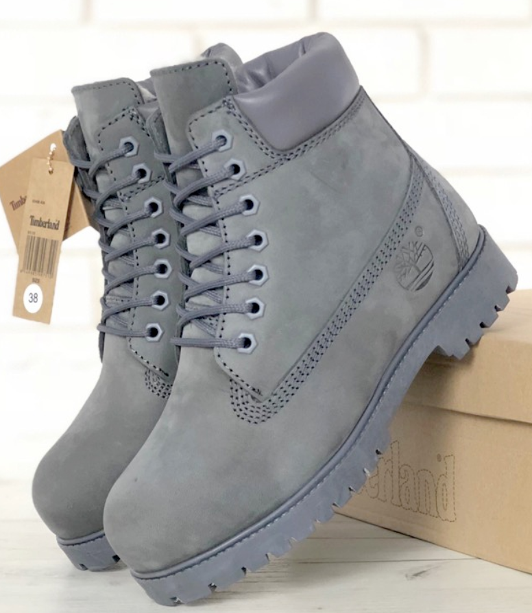 Женские зимние ботинки Timberland 6 inch Grey С МЕХОМ, ботинки Тимберленд
